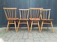 4 Ercol 1960s all purpose chairs Vintage Retro Mid Century