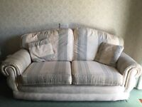 Cream/Green Sofa & Matching Chair
