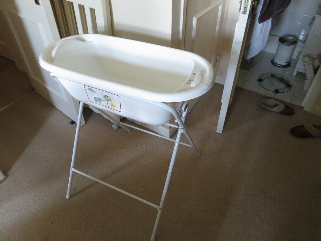White Baby Bathtub + Stand | in Kilburn, London | Gumtree