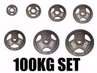"""FXR SPORTS TRI GRIP IRON OLYMPIC WEIGHT DISC PLATES WEIGHTS GYM - 50MM 2"""" HOLE"""