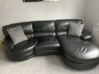 DFS BLACK LEATHER RIGHT FACING SWIVEL CORNER SOFA - MUST GO TODAY TODAY - CHEAP DELIVERY - £495