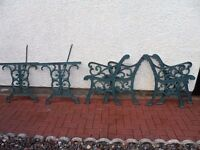 Solid Super Heavy Thick Cast Iron Garden Set Ends ( Two Benches And Table Matching )