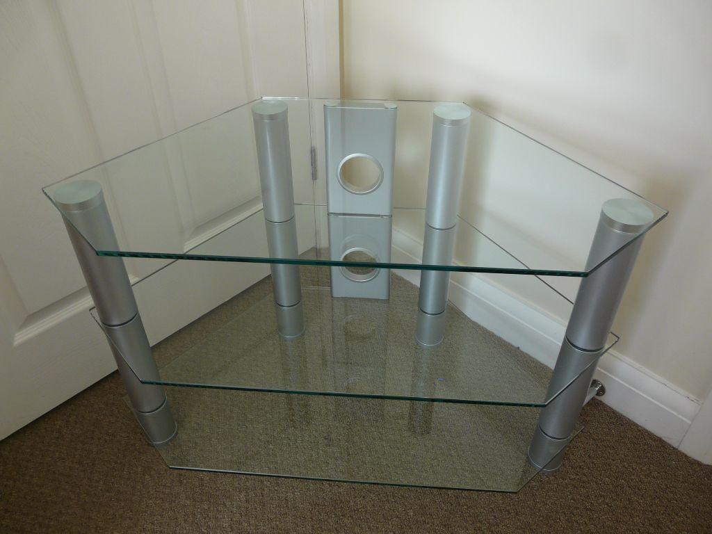 GLASS CORNER TV unit TABLE Like new V g c Quality 8 mm