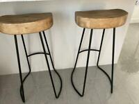 Set of 2 weathered oak and metal bar stools