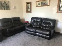 Leather recliner 2 seater settee x 2