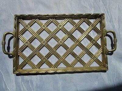 wunderschönes altes Messing - Tablett durchbrochen massives Messing 2 Griffe