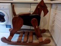 Unusual large wooden rocking dog for garden - patio - conservatory - play room