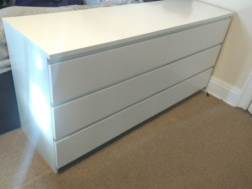 Ikea Malm Dresser 6 Chest Of Drawers