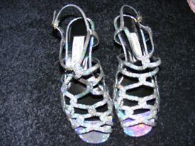 Silver Shimmer Strappy Shoes Size 4 & A Half (Only Been Worn Once).