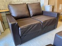 Nabru Flat Pack Brown Faux Leather 3+2 Seater Sofa Set – Good Condition