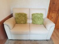 Cream 2 seater Leather (Italsofa) Sofa From Hopewell's in excellent condition hardly used