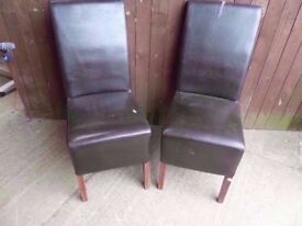 Dining Chairs 2 x High Back Leather a few Marks Delivery Available £7