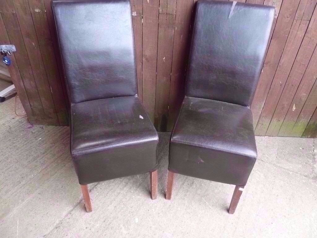 Dining Chairs 2 x High Back Leather a
