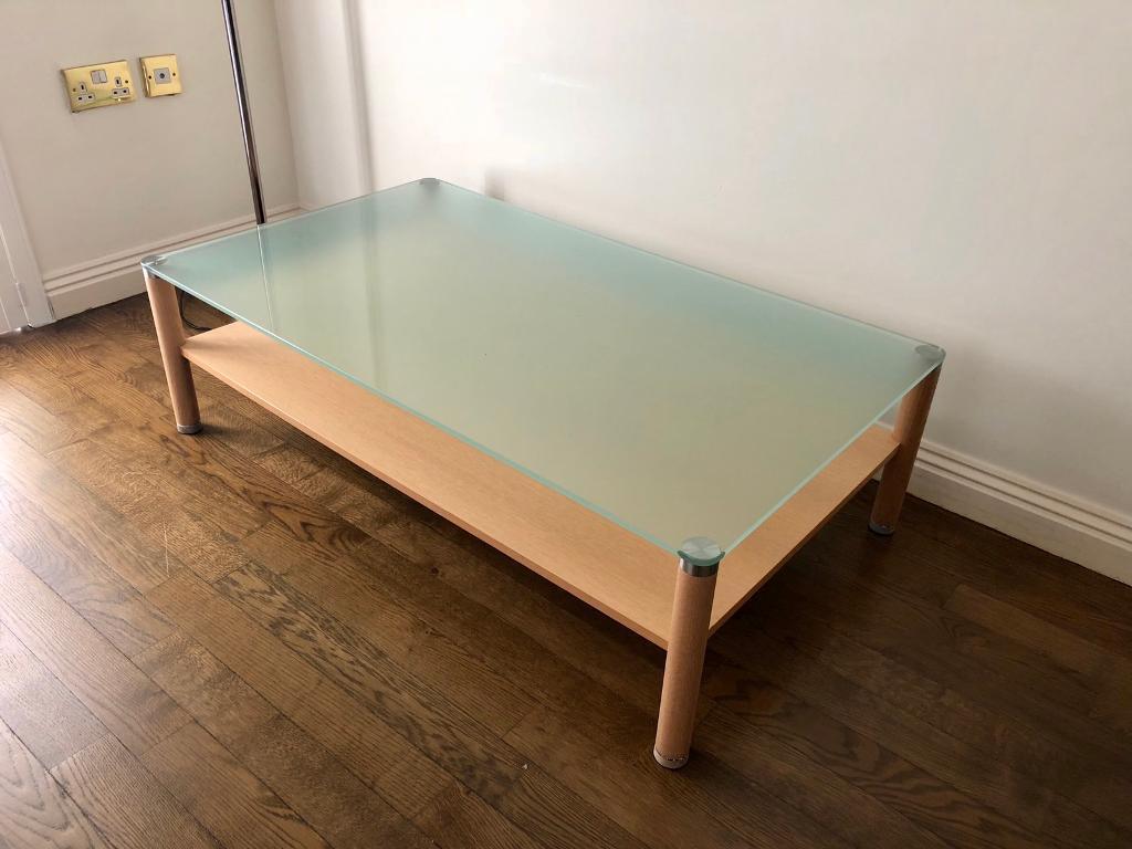 Oak Glass Top Coffee Table