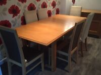 Marks & Spencer Lichfield Oak Dining table and 6 chairs and Sideboard with display cabinet