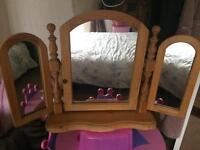 Triple pine mirror for bedroom