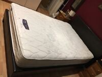 Double bed faux leather brown and mattress