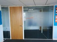 3.31 Metre Wide USED Toughened Glass Partition System with Door & Aluminium Frames (£350)