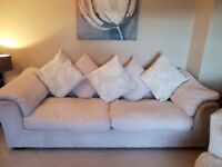 DfS 4 seater sofa, 2 seater swivel chair, storage footstool, cream, good condition