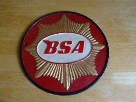cast iron BSA motorbike sign