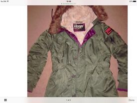 WOMENS SUPERDRY SD3 PARKA. WORN TWICE ONLY. SIZE 12-14