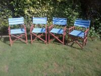 4 patio chairs, director style, folding, perfect condition, made of hardwood so won't rot or rust
