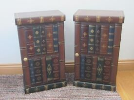 Two unusual Small Book Shaped Cupboards - Realistic Curved Classic Style Spines
