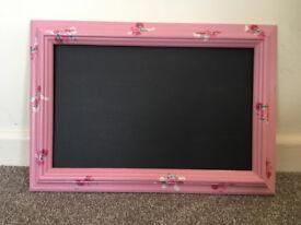 Pink floral chalkboard