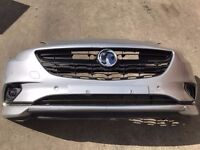 VAUXHALL CORSA E SILVER FRONT BUMPER COMPLETE INC GRILLS 2016 2017 USED