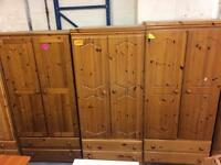 4 solid wood / pine wardrobes with 2 draws