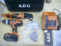 AEG COMBO HAMMER DRILL CHARGER AND BATTERY + BRAND NEW MULTICUTTER 18V L-ION