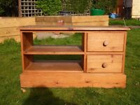 Pine TV unit with shelves and drawers