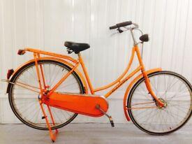 Orange Gazelle classic Dutch city bike Fully serviced Full chain guard, Rack Medium Serviced