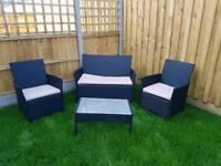 Rattan effect 4 piece garden set