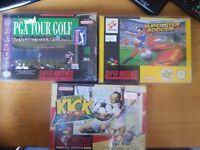 SNES Super Nintendo Sports bundle, ISS, Kick Off, PGA Tour Golf