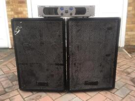 2 speakers and amp