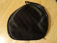 Black satin make up / cosmetics bag. New.