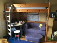Stompa loft bed with desk and sofa