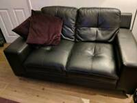 2 x 2 seater black leather sofa