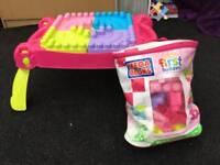 Mega blocks pink table and big bag of blocks