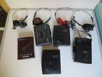 A VINTAGE 1990S 5 X WALKMANS , SAISHO , CROWN , OMEGA & AMSTRAD ETC , GC