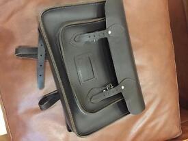 Black leather school satchel