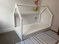 White wooden toddler bed, 160x80 complete with mattress
