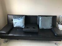 Black three seater sofa bed