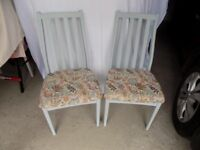 Pair up-cycled dining chairs, Duck Egg Blue Chalk paint.