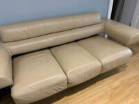 Kler leather sofa beige 3 seater (SOLD)