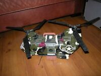 TOY H M Forces chinook-helicopter lifts folding blades toy carrier handle to carry around to play