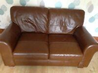 Tan/Brown Leather Sofa