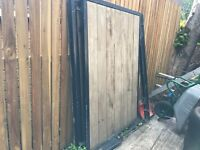 Driveway Gates, 1335 Wide by 1900 High, With Posts. Metal Frame with Wood Panels