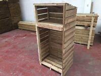 Log sheds, super heavy duty pressure treated green
